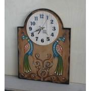 Ξύλινο ρολόι με χειροποίητη ζωγραφική