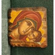 Αγιογραφία σε κορμό ξύλου - Παναγία η βρεφοκρατούσα