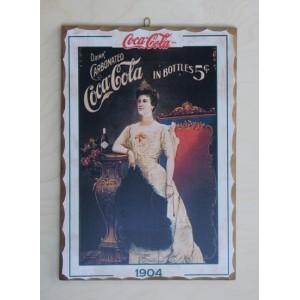 Ξύλινο καδράκι - Παλιά διαφήμιση Coca Cola Α3